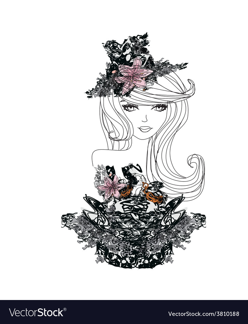 Abstract beautiful woman doodle portrait vector   Price: 1 Credit (USD $1)