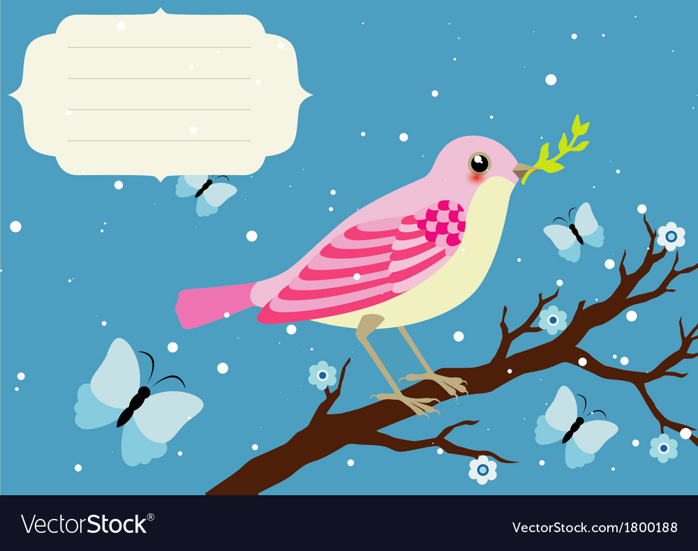 Background with blooming tree branch and bird vector | Price: 1 Credit (USD $1)