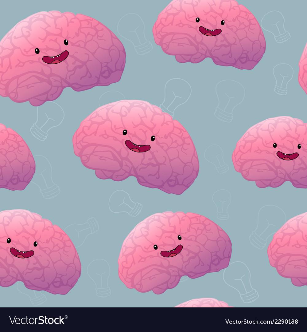Brainstorm happy brain seamless pattern vector | Price: 1 Credit (USD $1)