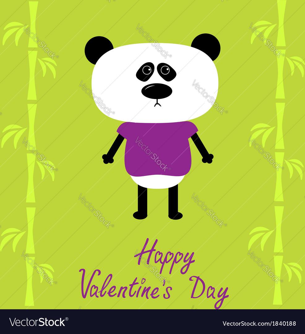Cartoon panda boy and bamboo happy valentines day vector | Price: 1 Credit (USD $1)
