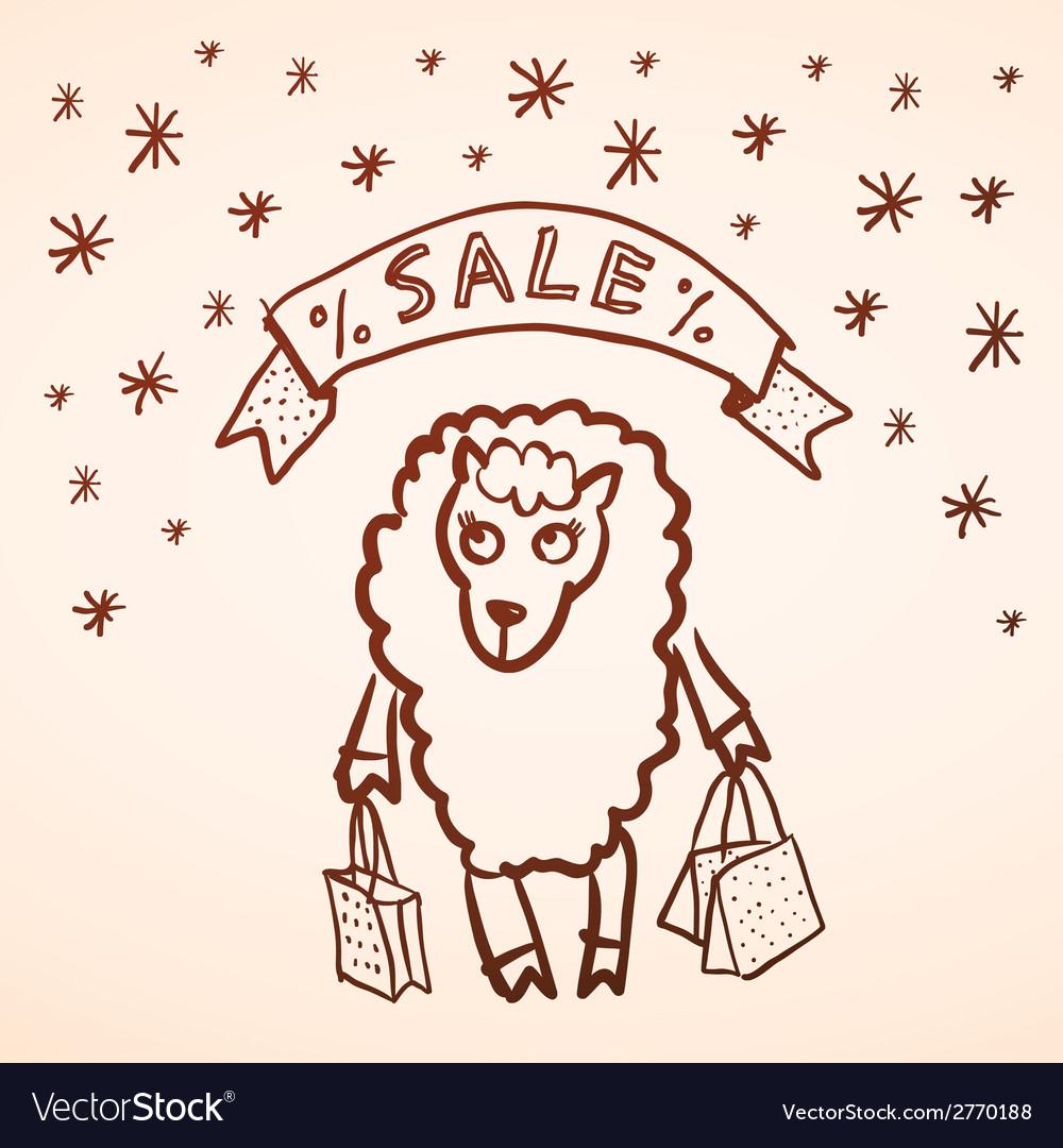 Christmas sale merry christmas card funny sheep vector | Price: 1 Credit (USD $1)