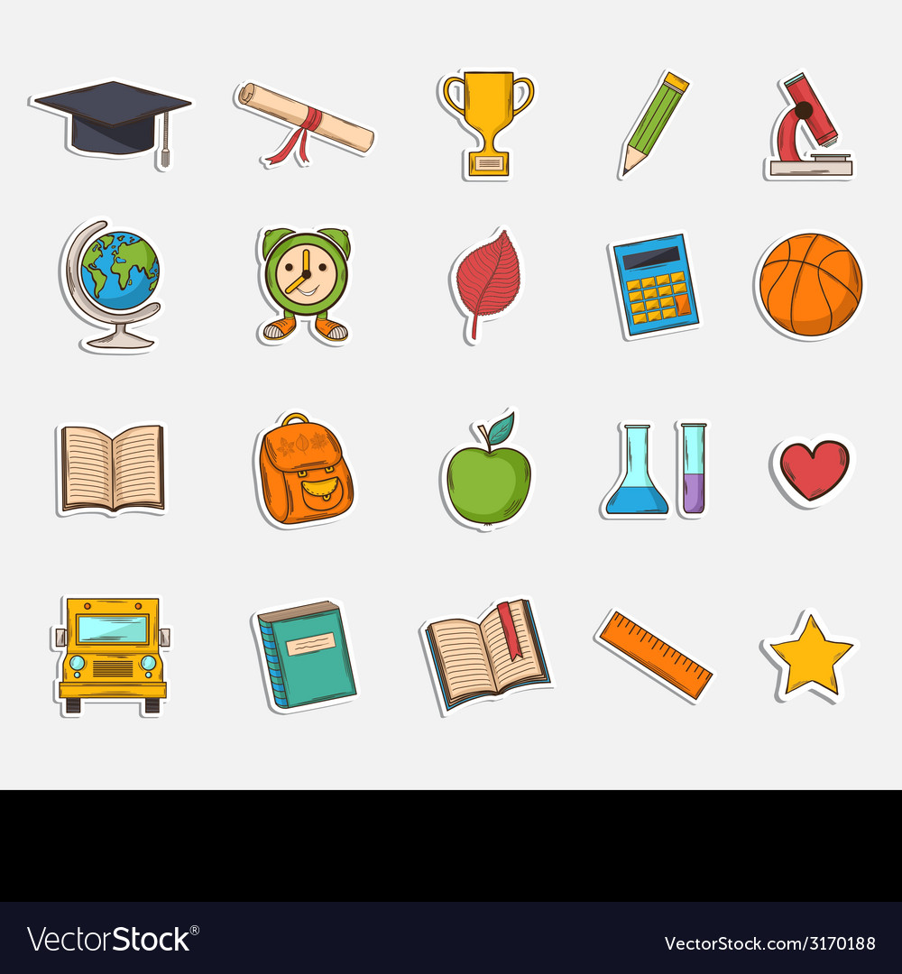 Doodle school icons set vector | Price: 1 Credit (USD $1)