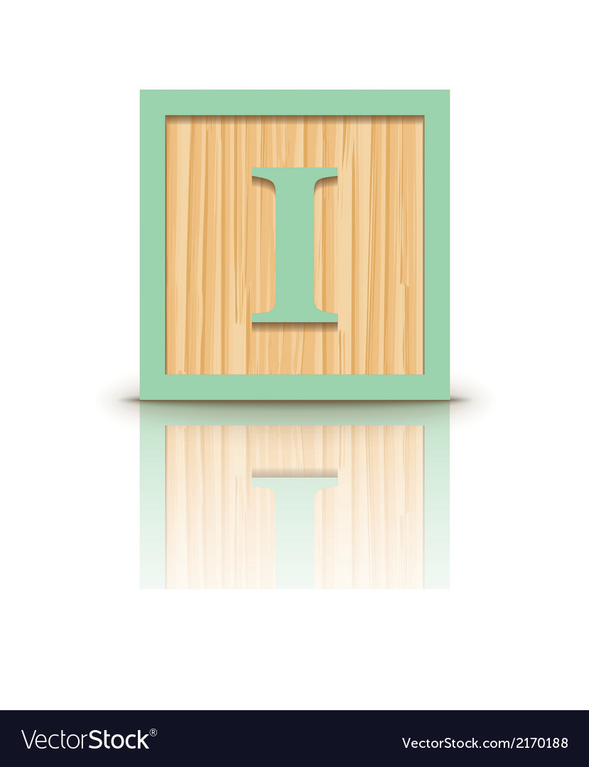 Letter i wooden alphabet block vector | Price: 1 Credit (USD $1)