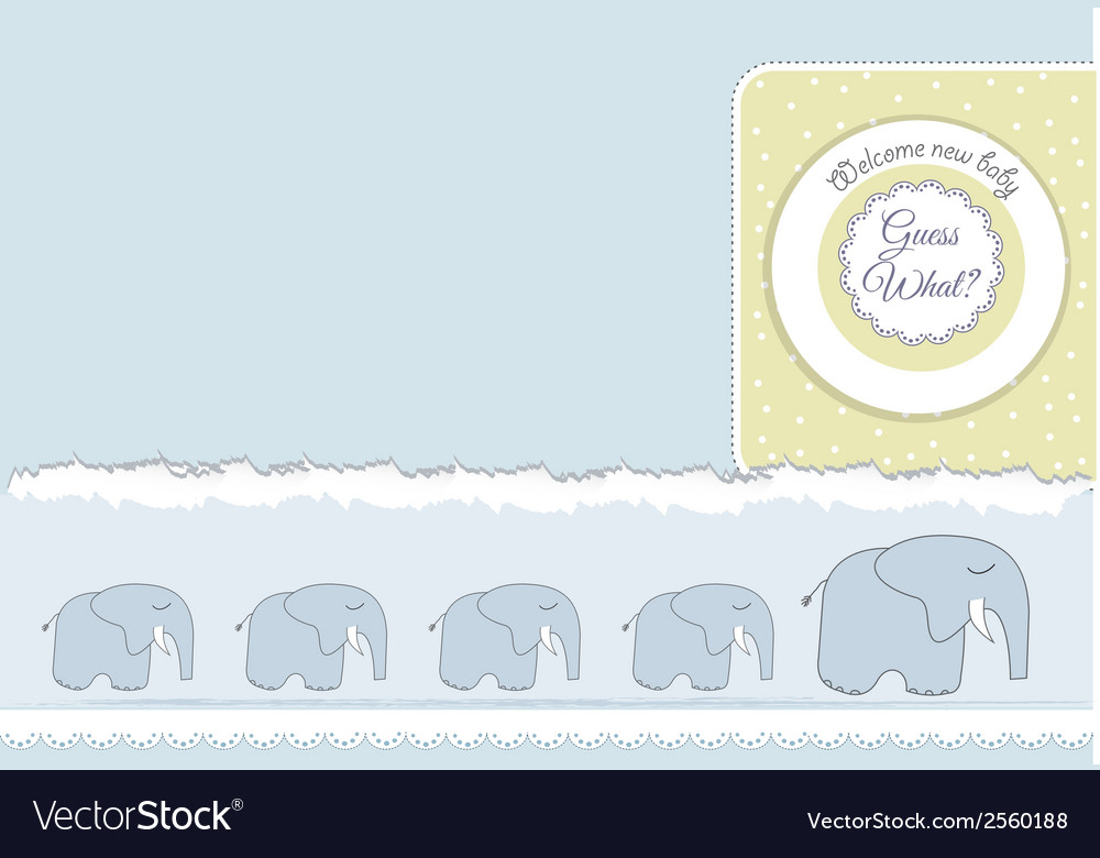 New baby announcement card with elephant vector | Price: 1 Credit (USD $1)