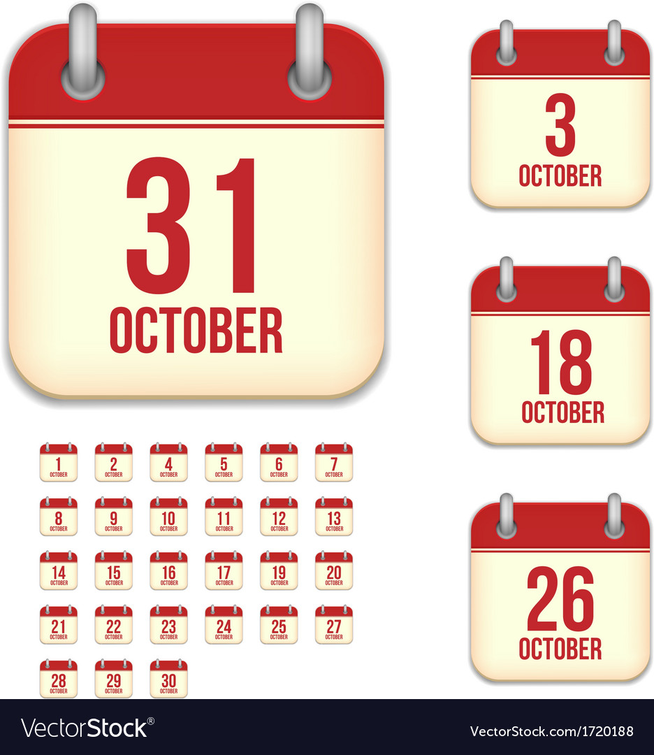 October calendar icons vector | Price: 1 Credit (USD $1)