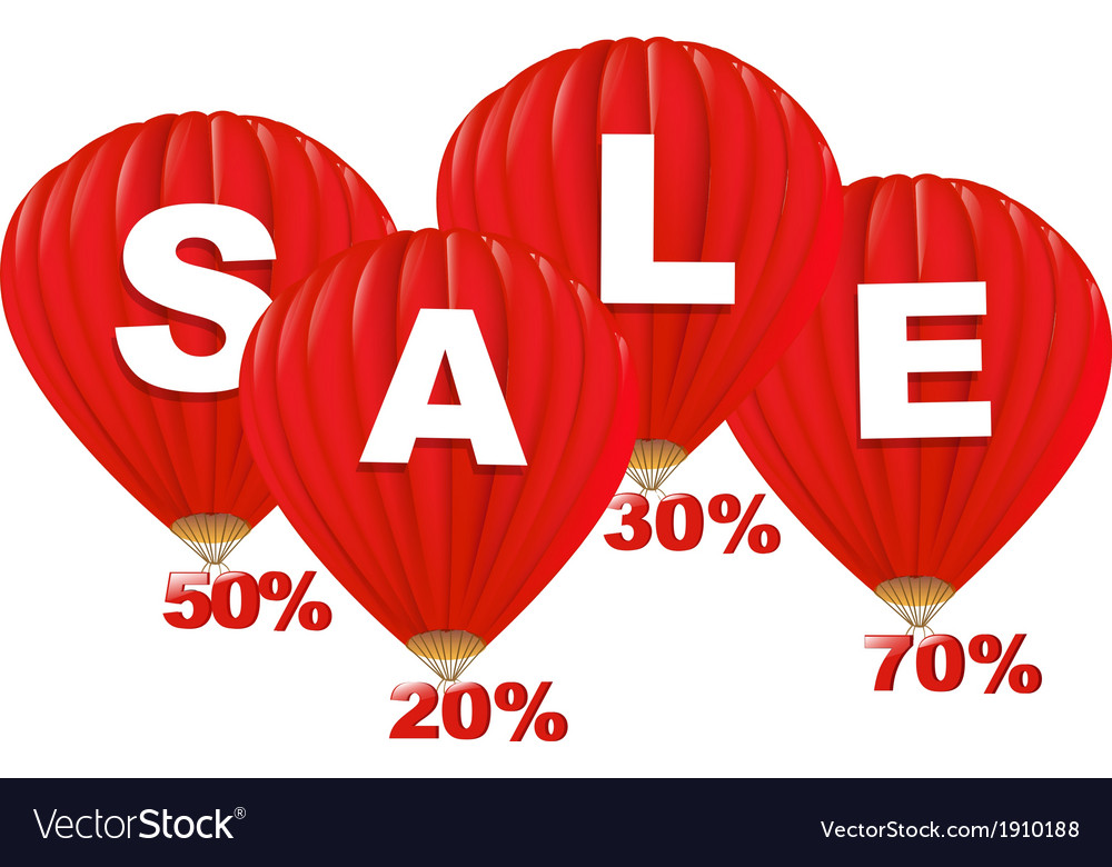 Sale red hot air balloons vector | Price: 1 Credit (USD $1)