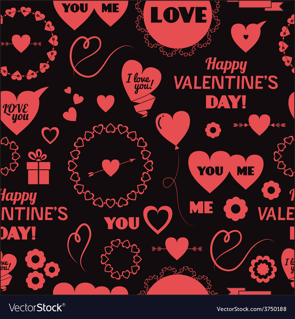 Seamless background happy valentines day vector | Price: 1 Credit (USD $1)