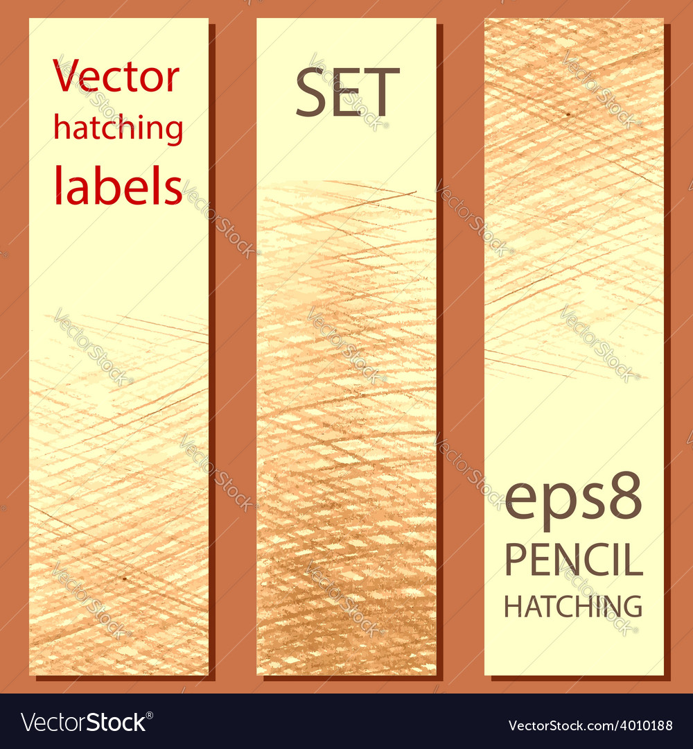 Set of 3 labels with pencil hatching vector | Price: 1 Credit (USD $1)