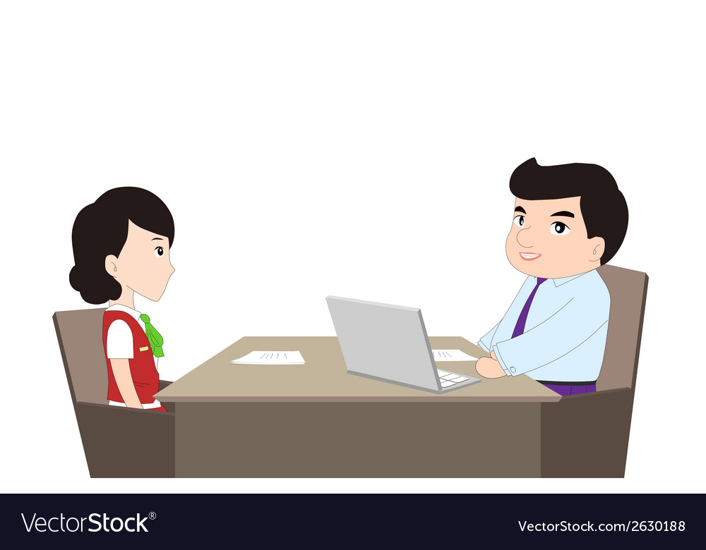 Simple cartoon of a man being interviewed vector | Price: 1 Credit (USD $1)