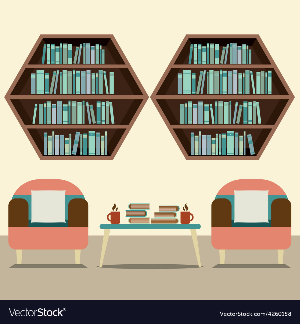 Two sofas with hexagon bookshelves vector | Price: 1 Credit (USD $1)