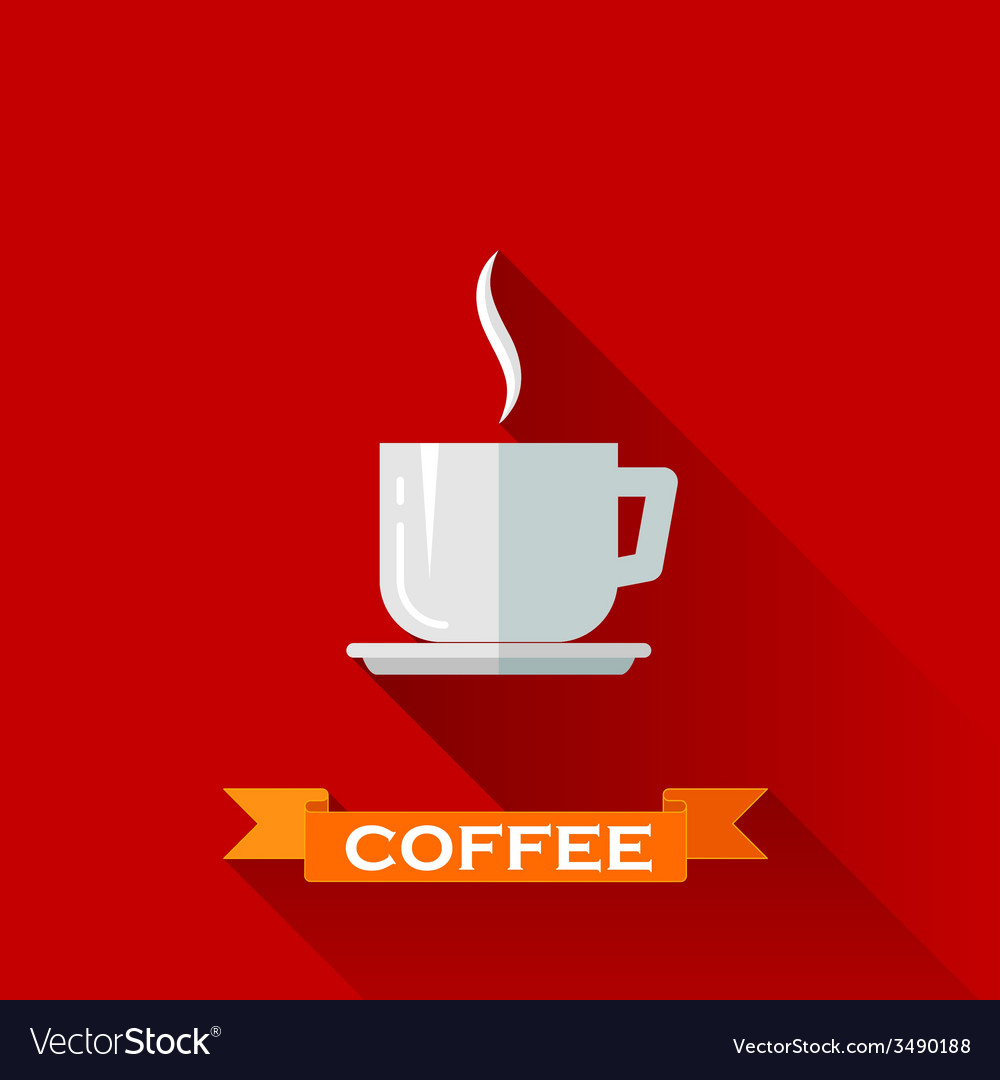 With coffee cup icon in flat design style with vector | Price: 1 Credit (USD $1)