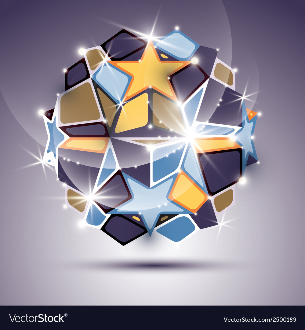 3d twinkle mirror ball with gold stars festive vector | Price: 1 Credit (USD $1)