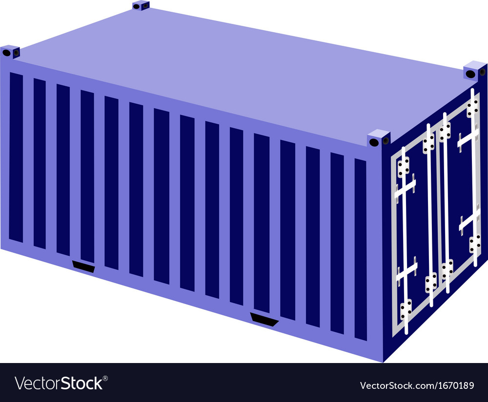 A blue container cargo container vector | Price: 1 Credit (USD $1)