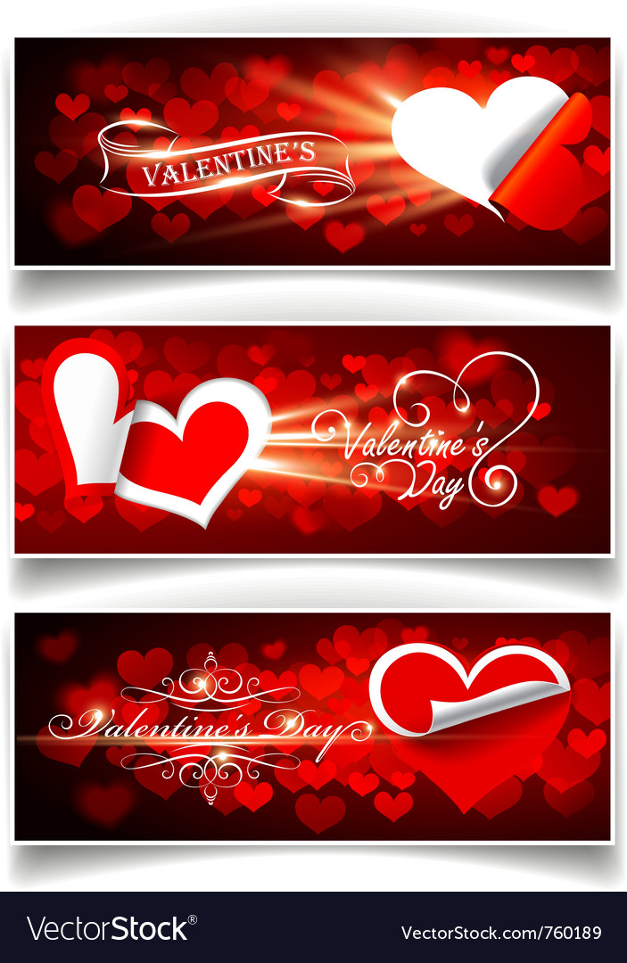Banners on valentines day vector | Price: 1 Credit (USD $1)