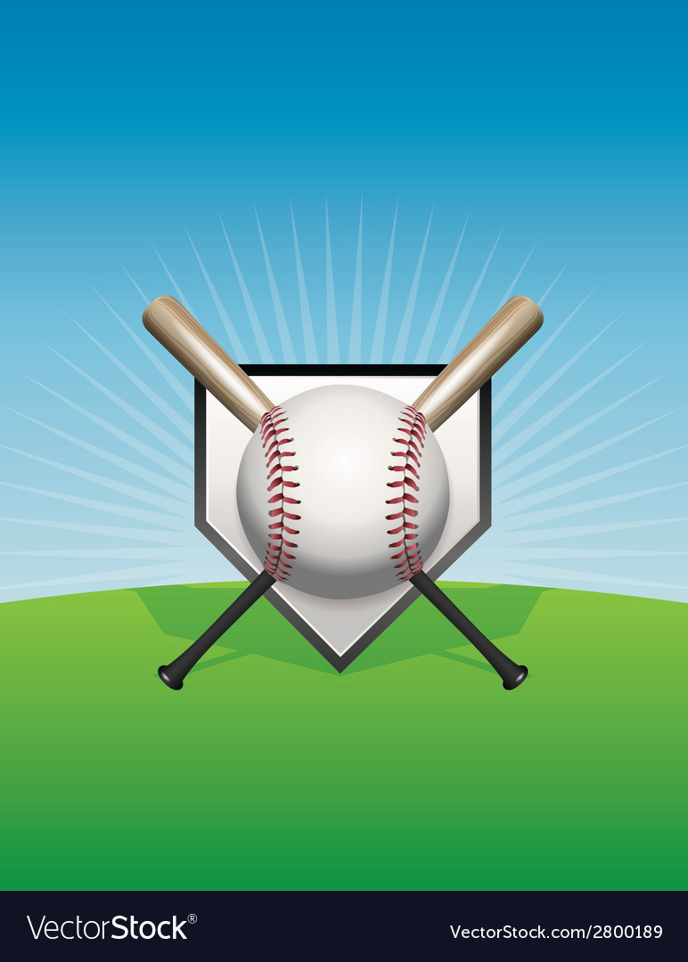 Baseball background ball and bats vector | Price: 1 Credit (USD $1)