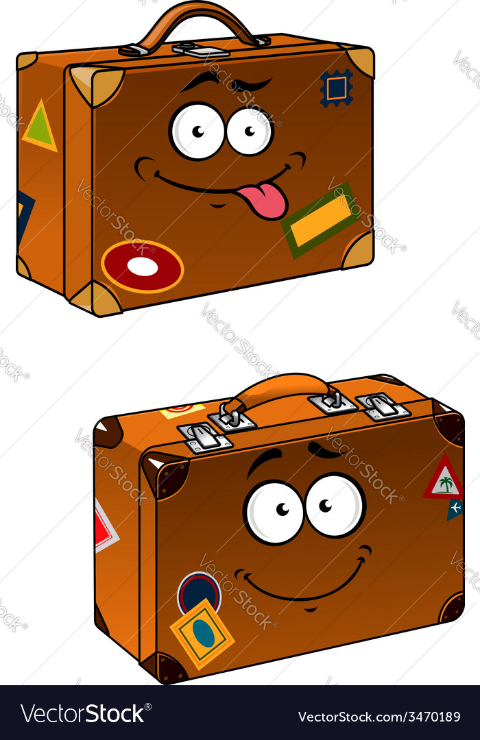 Brown travel briefcases with smiling face vector | Price: 1 Credit (USD $1)