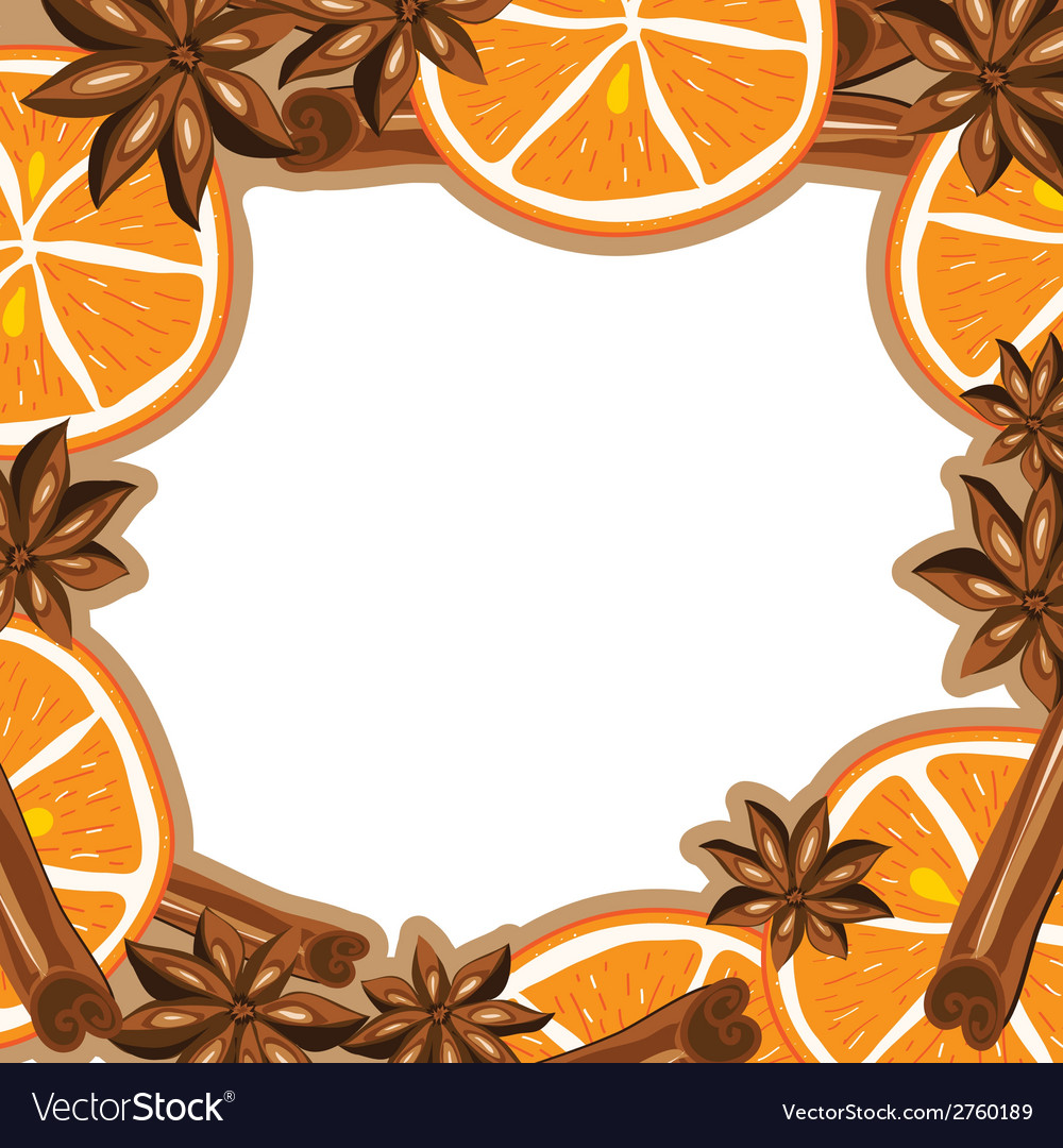 Frame - cinnamon star anise and orange vector | Price: 1 Credit (USD $1)