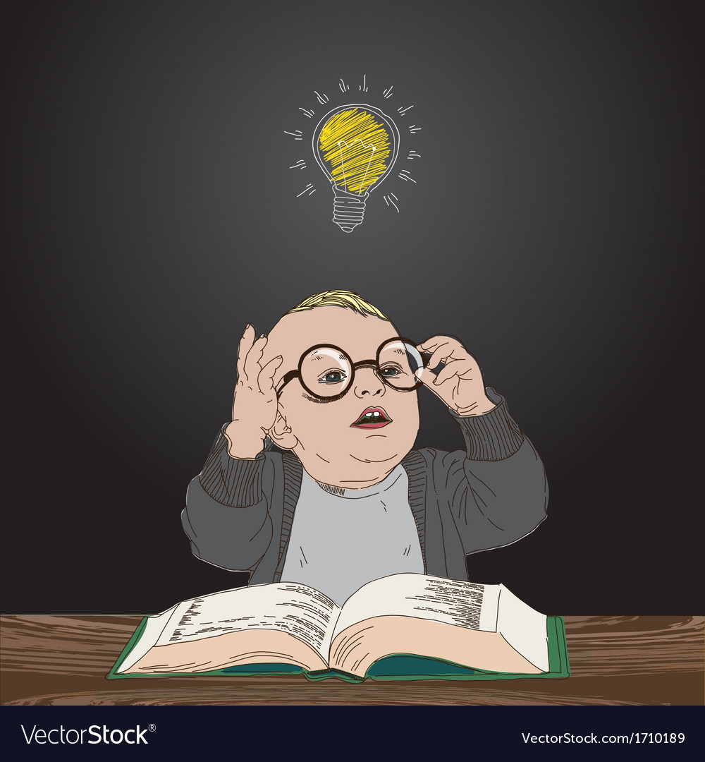 Great idea kid with book and bulb above his head vector | Price: 1 Credit (USD $1)
