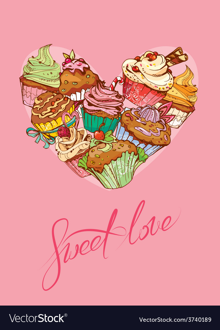 Heart cake vector | Price: 1 Credit (USD $1)