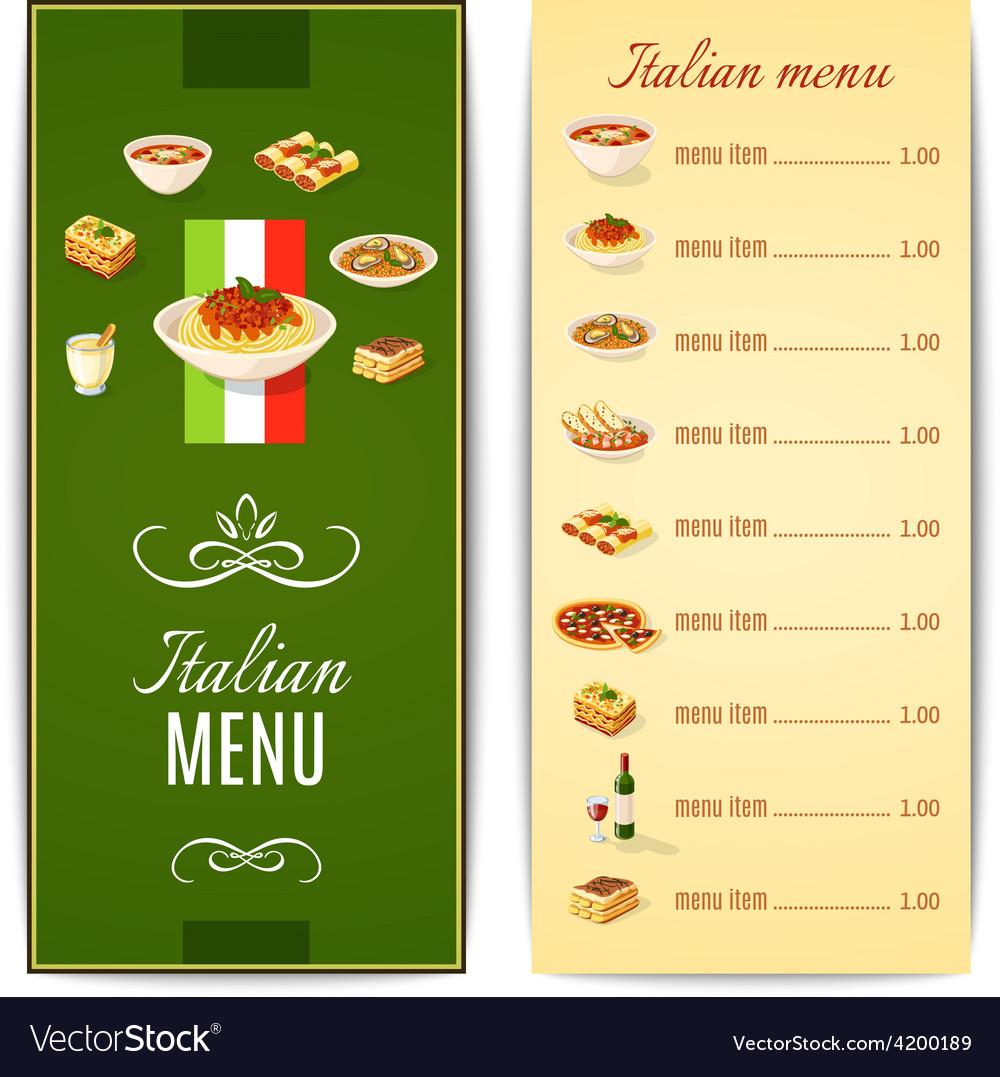 Italian food menu vector | Price: 1 Credit (USD $1)