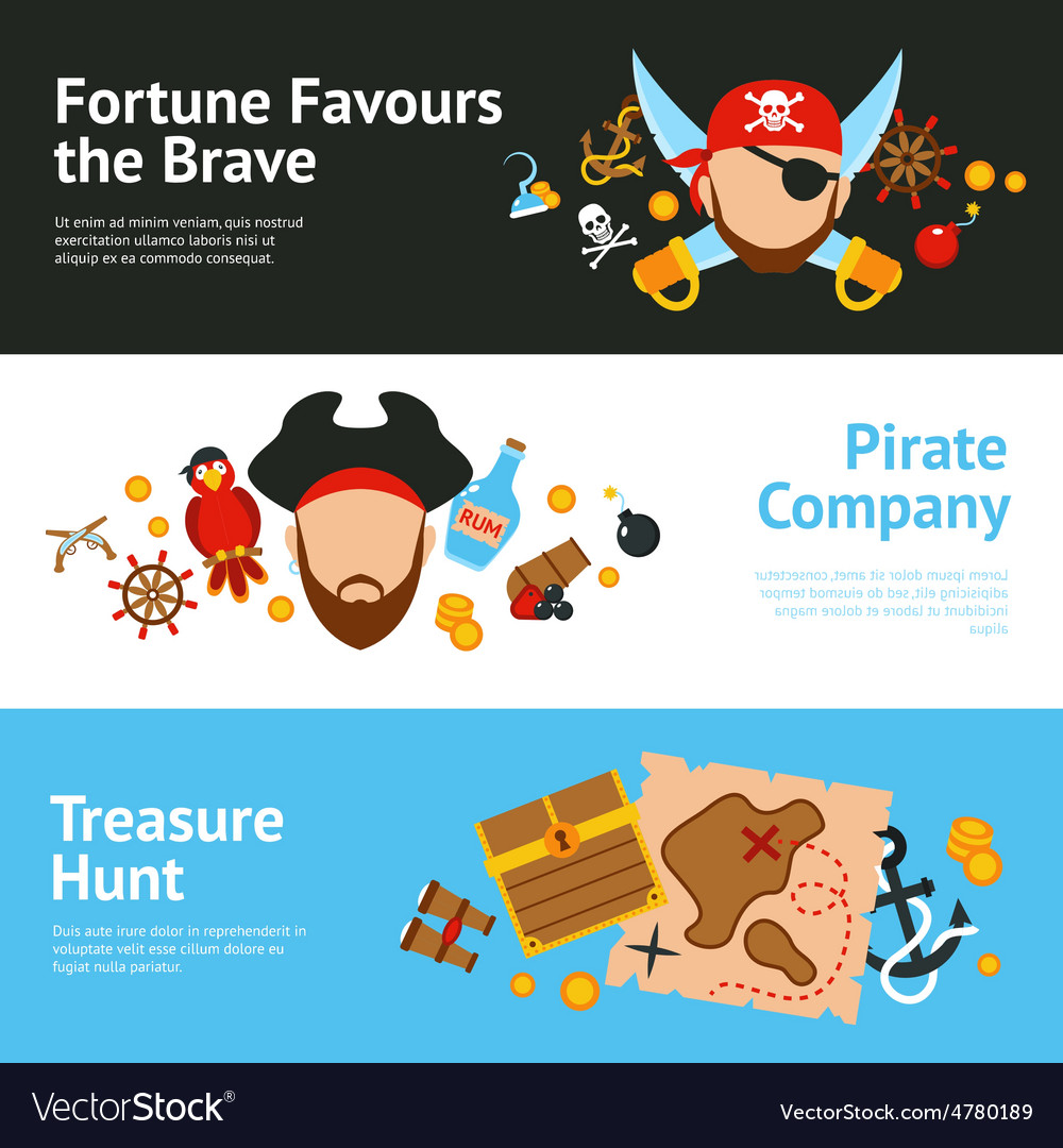 Pirate concept flat banners set vector | Price: 1 Credit (USD $1)
