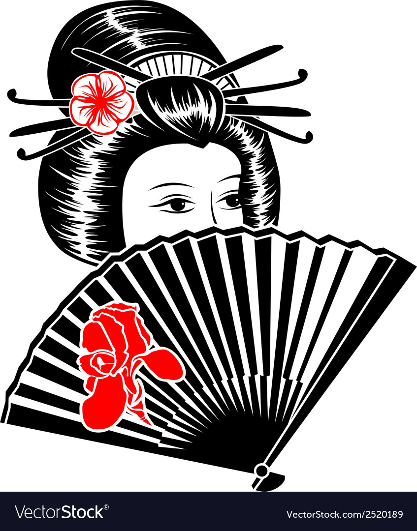 Portrait of japanese girl with fan vector | Price: 1 Credit (USD $1)