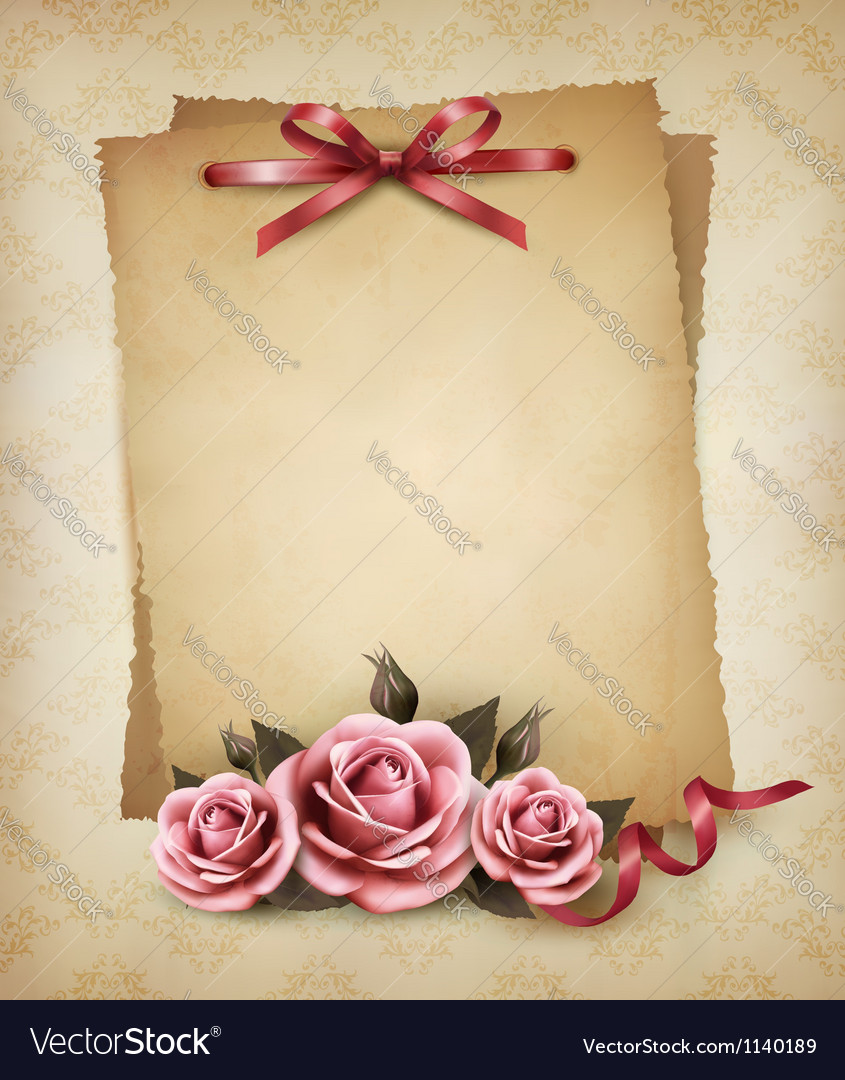 Retro background with beautiful pink rose and old vector | Price: 3 Credit (USD $3)