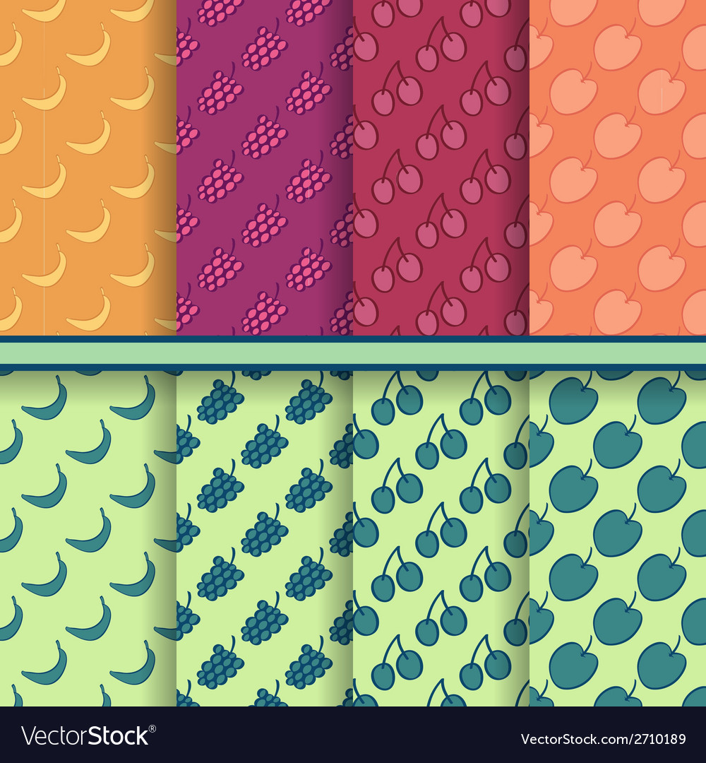 Set of fruits seamless patterns vector | Price: 1 Credit (USD $1)