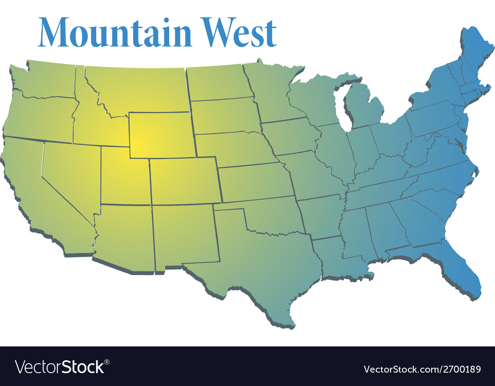 Us states region mountain west map vector | Price: 1 Credit (USD $1)