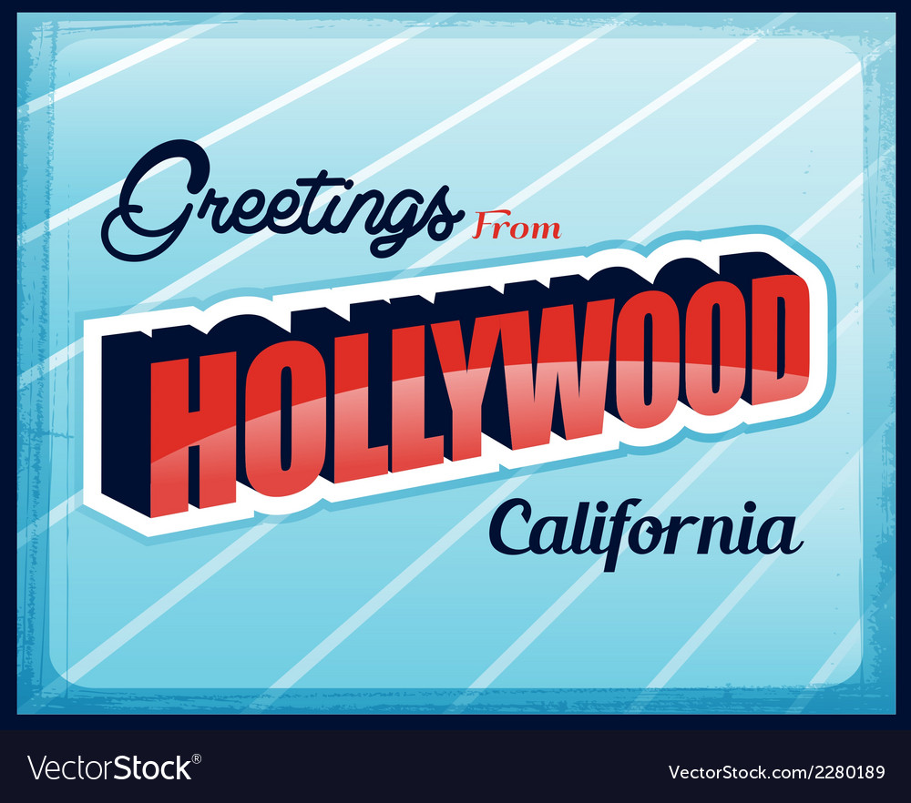 Vintage touristic greeting card hollywood vector | Price: 1 Credit (USD $1)