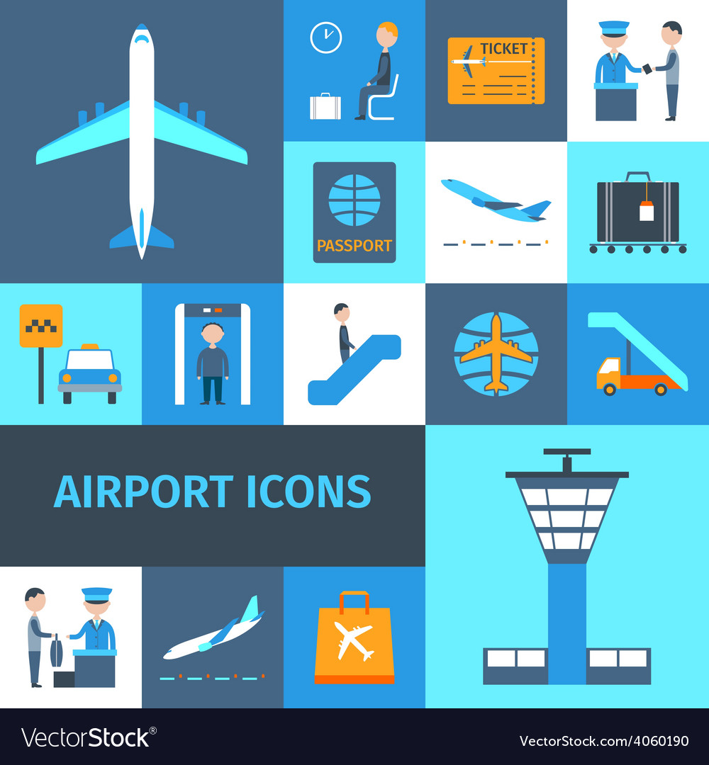 Airport decorative icons set vector | Price: 1 Credit (USD $1)