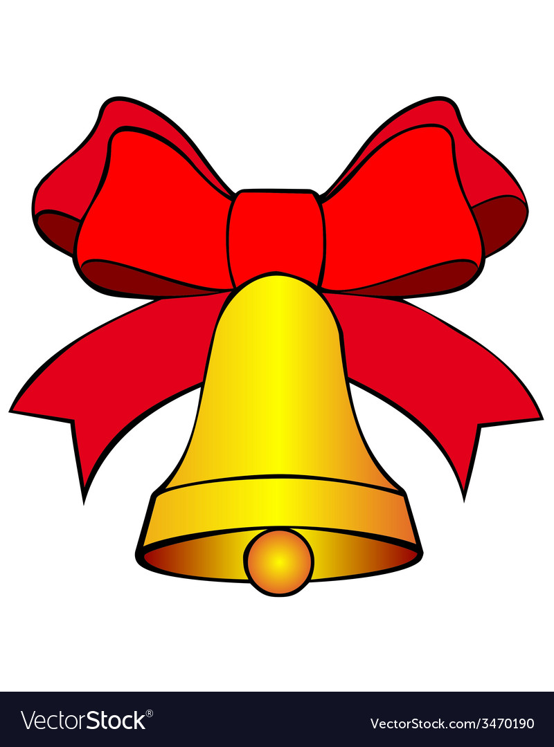 Bell with red bow vector | Price: 1 Credit (USD $1)