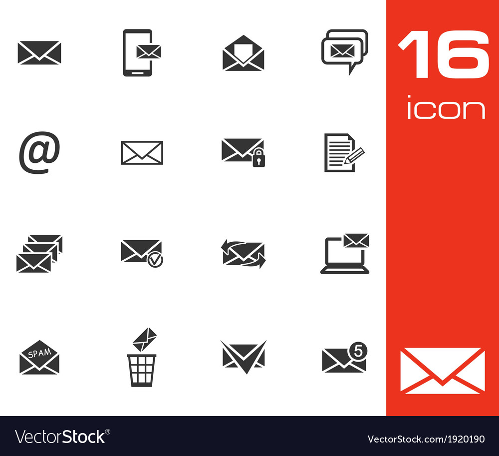 Black email icons set on white background vector | Price: 1 Credit (USD $1)