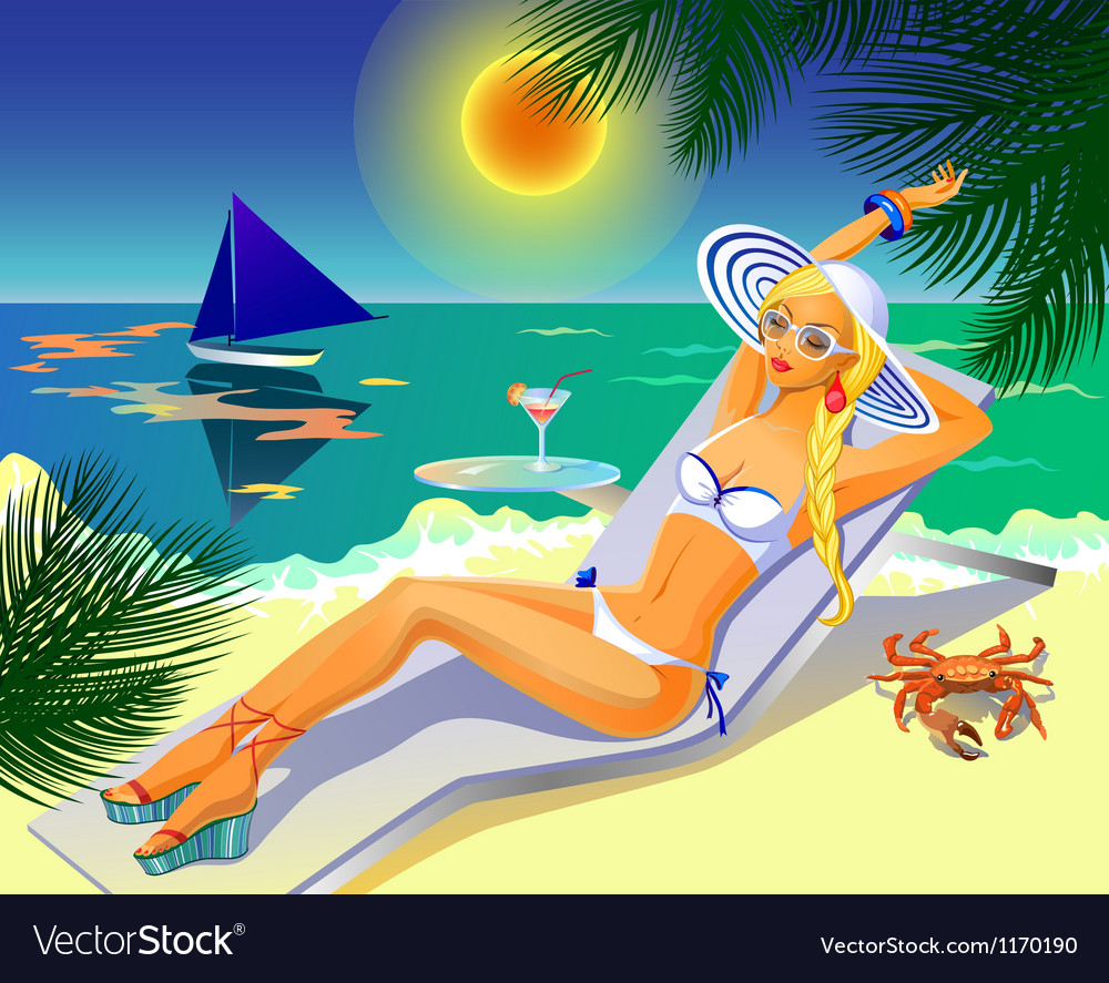 Girl on the tropical beach vector | Price: 3 Credit (USD $3)