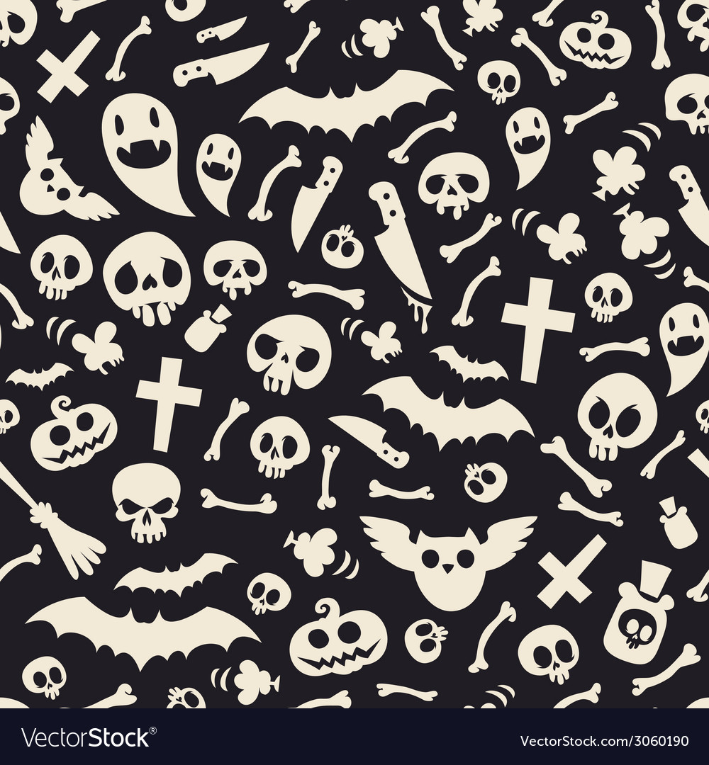 Halloween symbols seamless pattern contrast vector | Price: 1 Credit (USD $1)