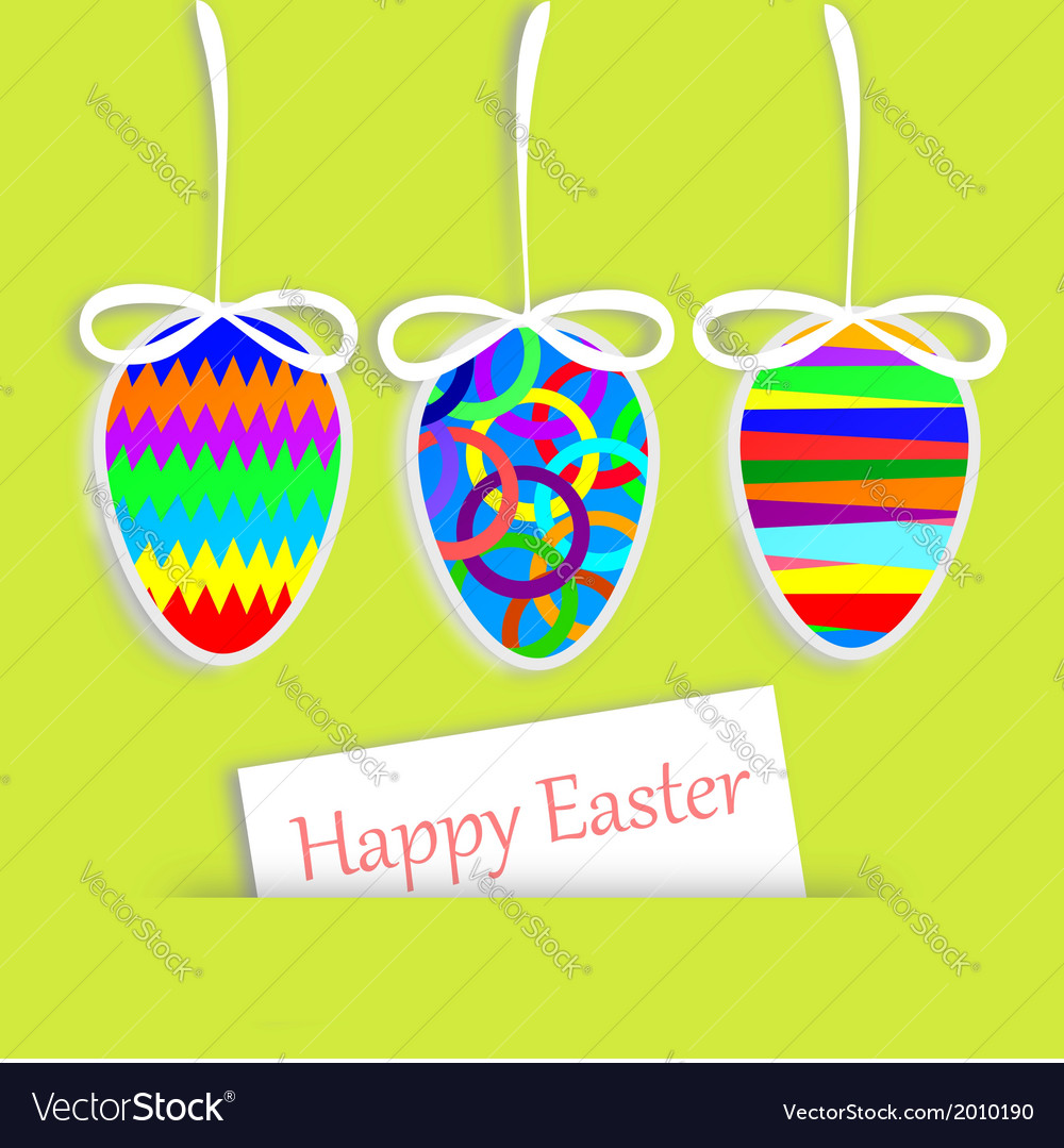 Hanging easter eggs and greeting card vector   Price: 1 Credit (USD $1)
