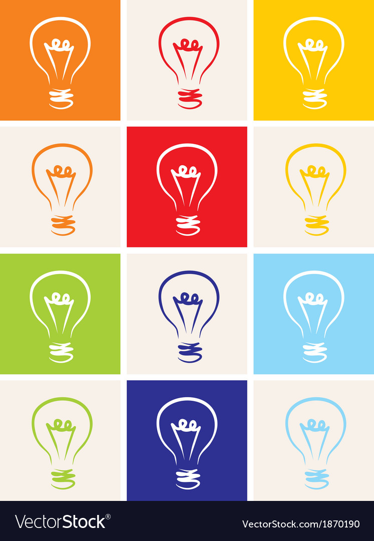 Light bulb icon hand drawn set isolated on white vector | Price: 1 Credit (USD $1)
