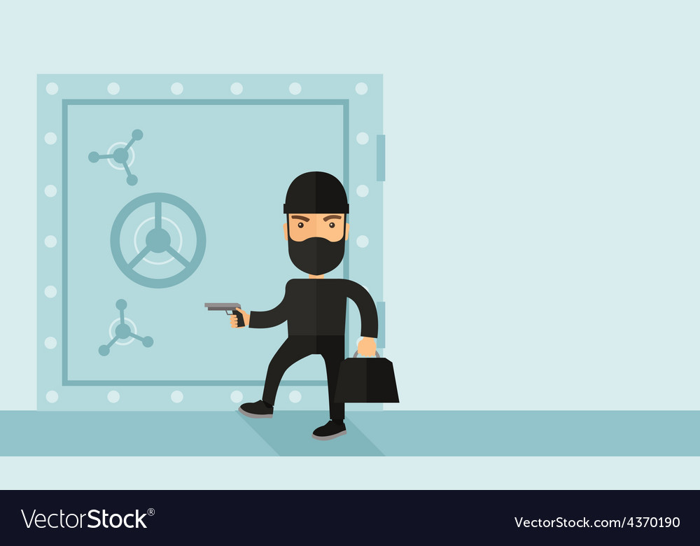 Man in black hacking bank safe vector | Price: 1 Credit (USD $1)