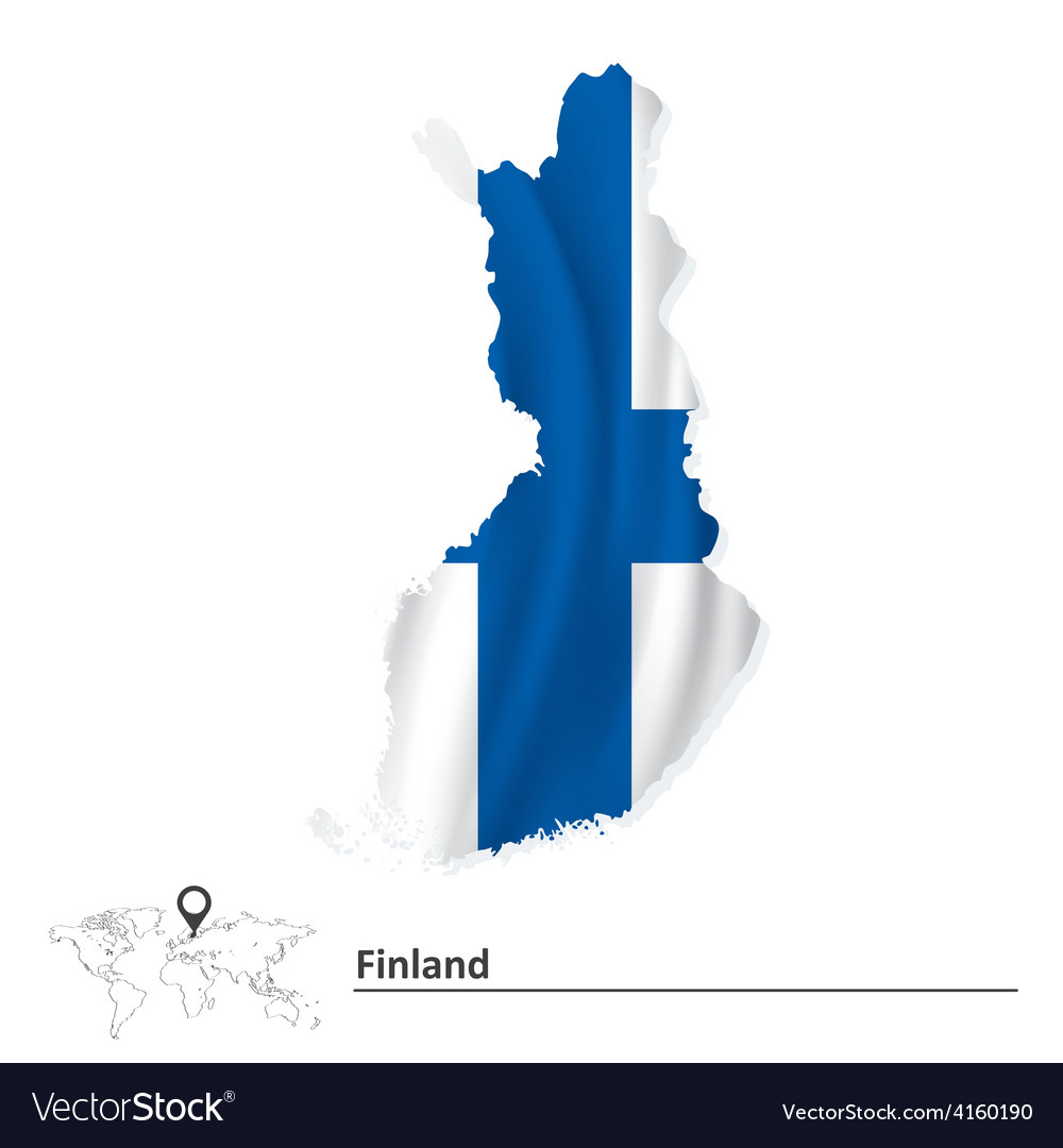 Map of finland with flag vector | Price: 1 Credit (USD $1)