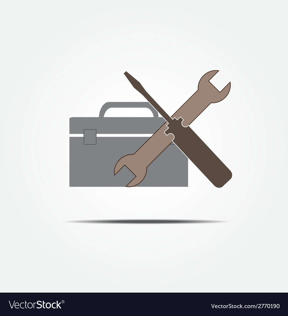 Screwdriver and wrench with tool box vector | Price: 1 Credit (USD $1)