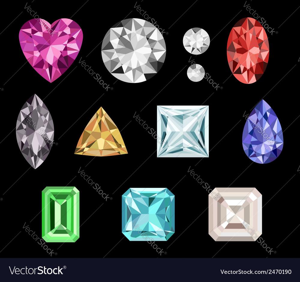 Set of colorful gemstones vector | Price: 1 Credit (USD $1)