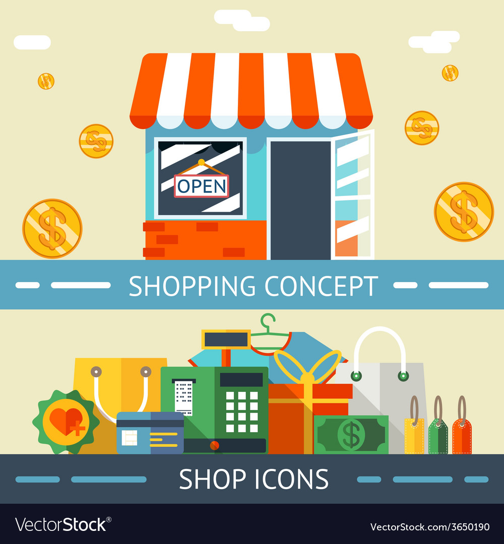 Shopping concept and icons designs vector | Price: 1 Credit (USD $1)