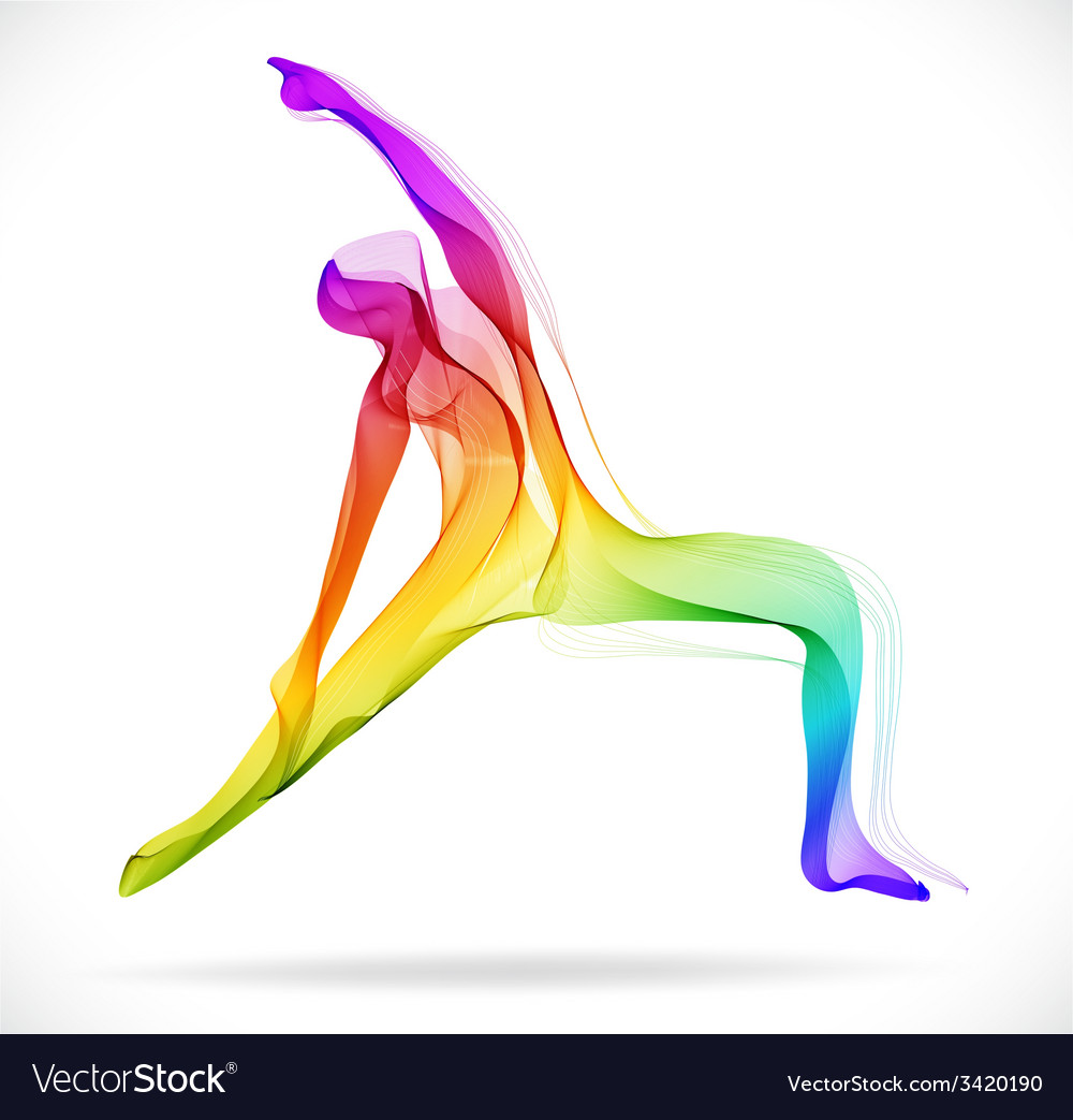 Yoga pose abstract color over white background vector | Price: 1 Credit (USD $1)