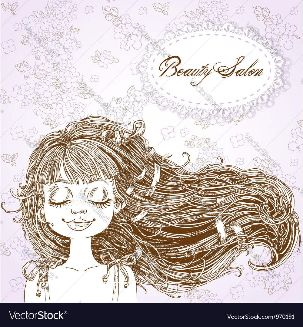 Beauty salon cute serene girl with flowing hair vector | Price: 1 Credit (USD $1)