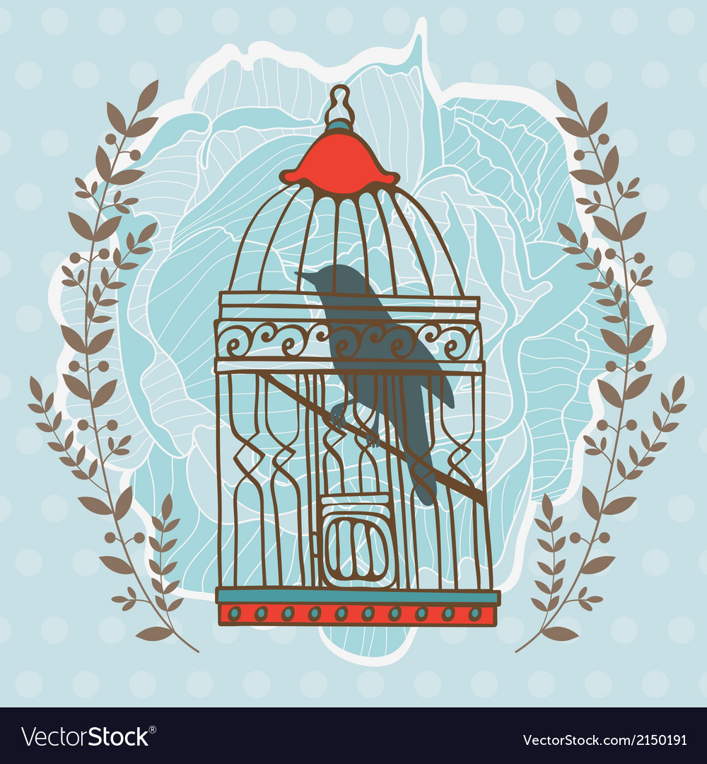 Bird in cage vector | Price: 1 Credit (USD $1)