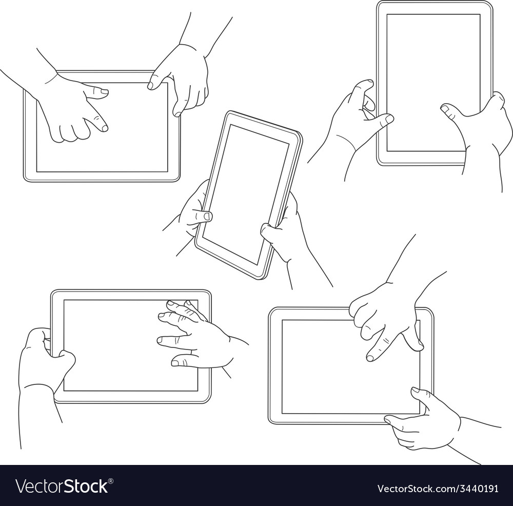 Childs hands holding a tablet vector | Price: 1 Credit (USD $1)