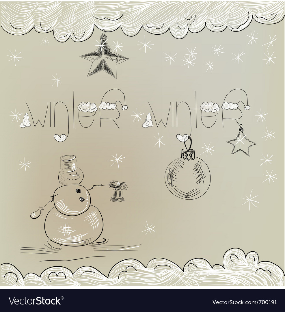 Christmas card with snowman vector | Price: 1 Credit (USD $1)