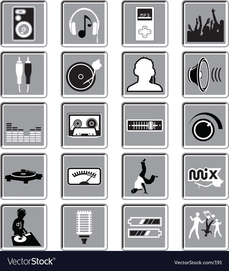 Dance music icons vector | Price: 1 Credit (USD $1)