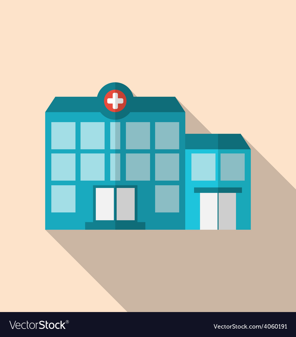 Flat icon of hospital building with long shadow vector | Price: 1 Credit (USD $1)