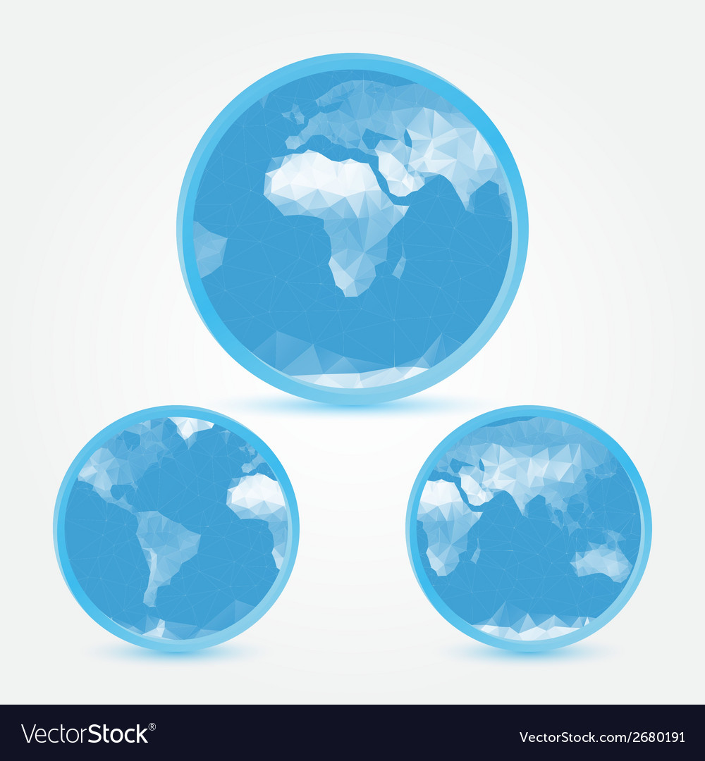 Globe earth blue icons in polygonal style - symbol vector | Price: 1 Credit (USD $1)